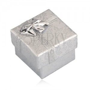 Ajándék csomagolás - ezüst rózsák, ezüst szalag, 40 mm