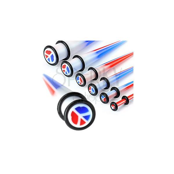 Fültágító taper - háromszínű béke szimbólum