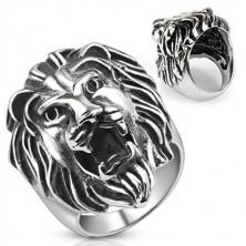 Nemesacél gyűrű - hatalmas oroszlánfej