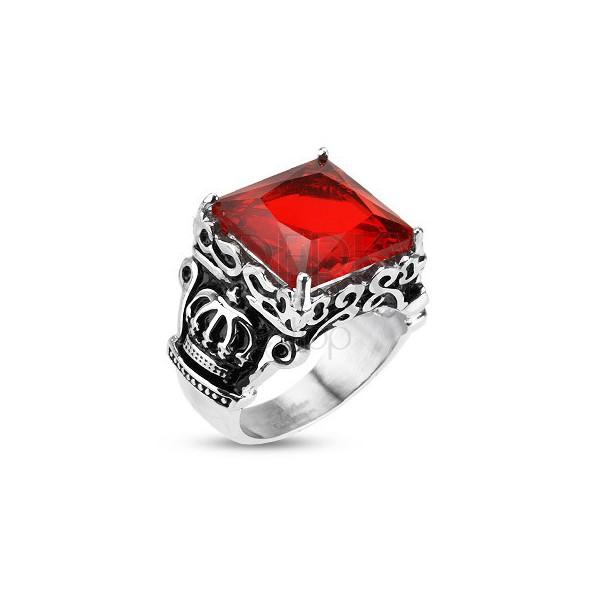 Sebészeti acél gyűrű - királyi korona, piros cirkónia