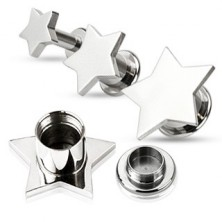 Fül piercing - plug acélból, finom csillag