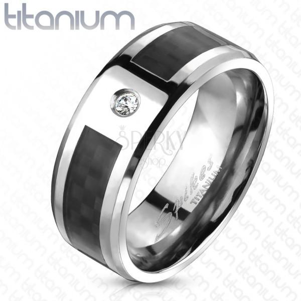 Titánium karikagyűrű - fekete karbonszálak, cirkónia
