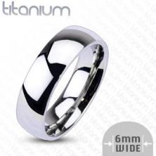 Titánium gyűrű ezüst színben – tükörfényes felület, 6 mm