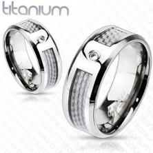 Karikagyűrű titániumból - fehér karbonszálak, cirkónia