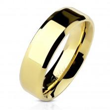 Aranyozott acél gyűrű - egyenes forma, vékony szegélyek, 6 mm