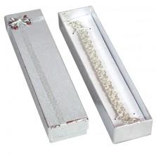 Ékszerdoboz - téglalap forma, ezüst szalag és masni