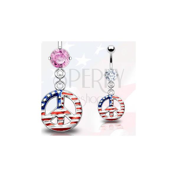 Köldök piercing - béke szimbólum, amerikai zászló