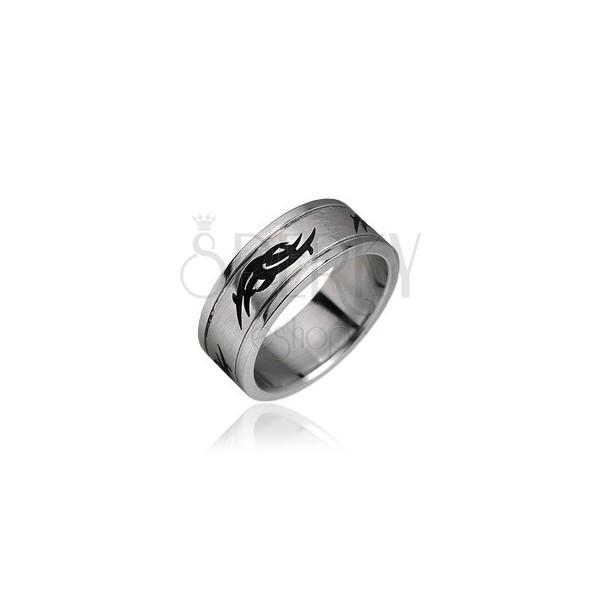 Gyűrű sebészeti acélból - tribal motívumok