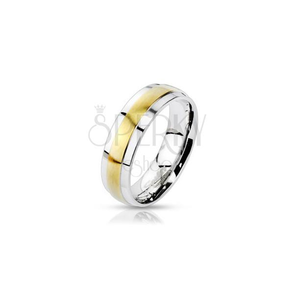 Orvosi fém karikagyűrű - kiemelkedő arany sáv