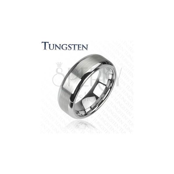 Volfrám gyűrű ezüst színben - csiszolt középső sáv, fényes szélek