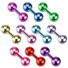 Piercing a fülbe acélból - fényes fém színek