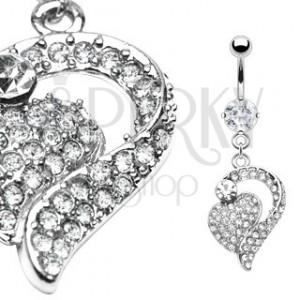 Piercing a köldökbe - csillogó szív a keretben, cirkóniák
