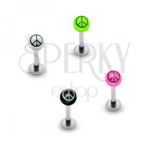 Áll piercing - golyócska és béke szimbólum