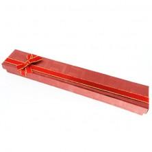 Ajándékdoboz láncnak - piros téglalap, kétszínű szalag
