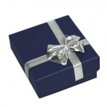 Ajándékdoboz - sötétkék téglalap, ezüst színű masni