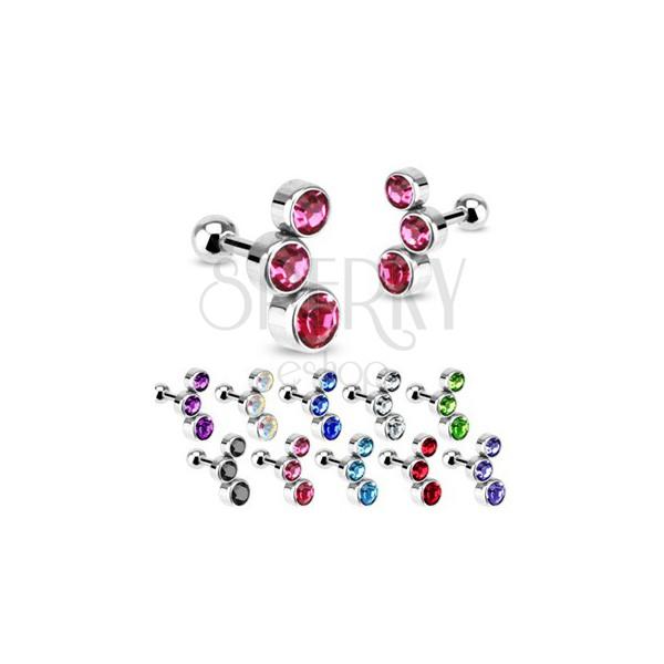 Acél fülporc piercing - három beágyazott szíves cirkónia
