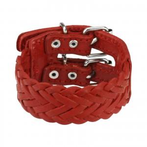 Bőr karkötő - szélesebb piros fonat, két kapocs