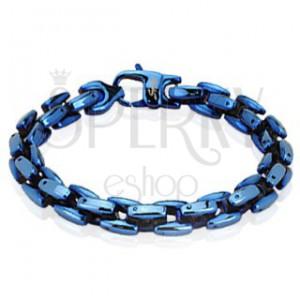 Fényes, vastag karkötő acél láncszemekből, kék színben