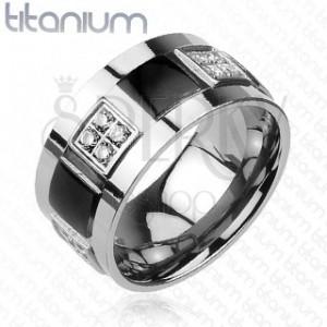 Titánium karikagyűrű - beágyazott cirkóniák, fekete négyzetek