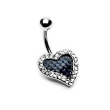 Piercing a köldökbe - karbonszálas szív, cirkóniaköves szegély