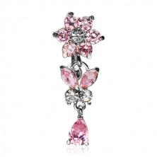 Piercing a köldökbe cirkónia medállal - virág, pillangó, könnycsepp