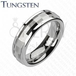 Tungsten karikagyűrű - forgatható sáv, téglalapok