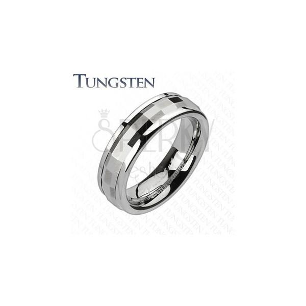 Volfrám karikagyűrű - díszített középső sáv téglalapokkal