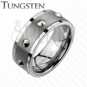 Wolfrám gyűrű - csiszolt középső sáv, kúpocskák