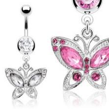 Köldökékszer - pillangó medál, cirkónia szárnyak