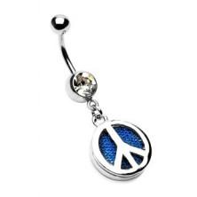 Köldökpiercing - kék farmer, PEACE szimbólum, cirkónia