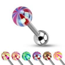 Piercing a nyelvbe - színes golyócska gyöngyházfénnyel