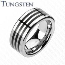 Tungsten karikagyűrű - három fekete sáv