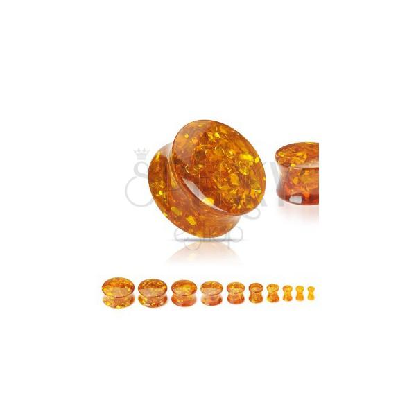 Nyereg alakú plug szintetikus borostyánból - csillámporos