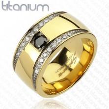 Arany színű gyűrű titániumból - két cirkónia félhold