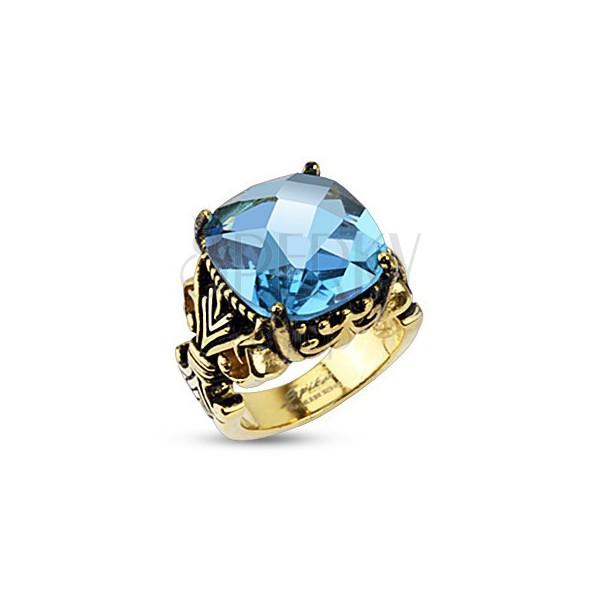 Nemesacél gyűrű - királyi motívum, nagy négyzet cirkónia