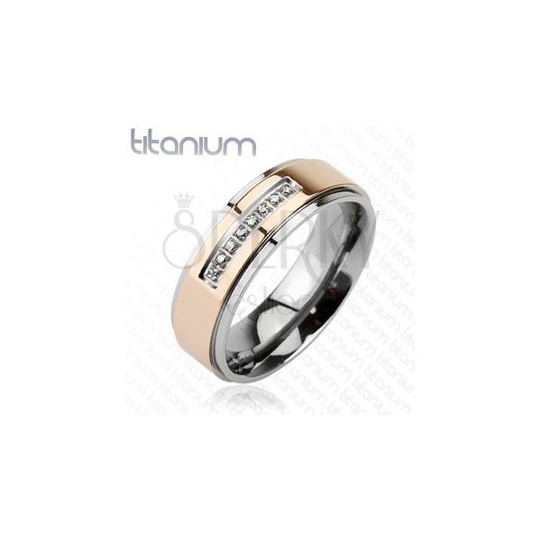 Karikagyűrű titániumból - rózsaszín arany sáv, cirkónia sáv