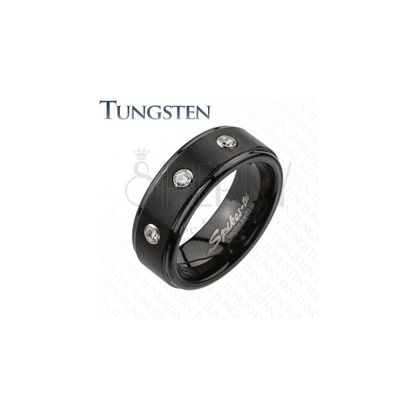 Volfrám gyűrű - fekete felület három átlátszó cirkóniával