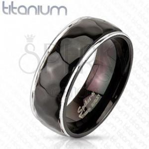 Titánium gyűrű - rombusz mintázat, ívelt szegély