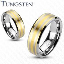 Tungsten karikagyűrű - aranyozott felület, két ezüst színű sáv