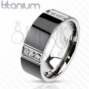 Titánium karikagyűrű - fekete téglalapok, tiszta cirkónia sorok