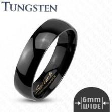 Sima, fekete, volfrám gyűrű, 6 mm