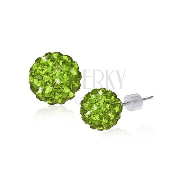 Fülbevaló - zöld SHAMBALLA gyöngyök és cirkóniák, 10 mm