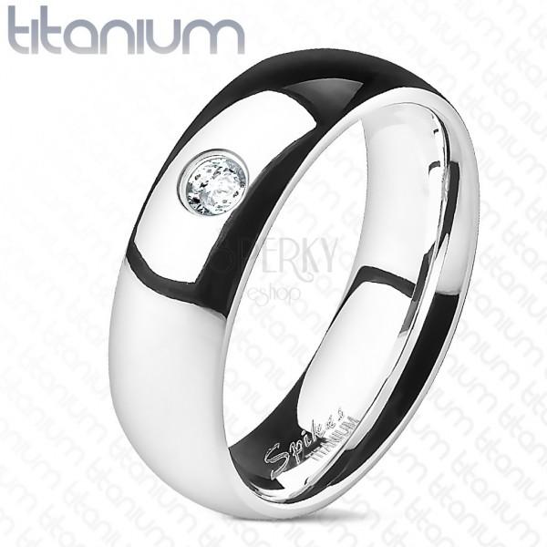 Cirkonköves titánium jegygyűrű - sima, 6 mm