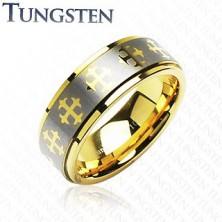 Wolfrám karikagyűrű - arany keresztek, ezüst sáv
