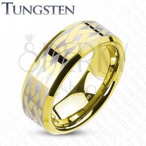 Volfrám karikagyűrű arany színben - keltai csomó