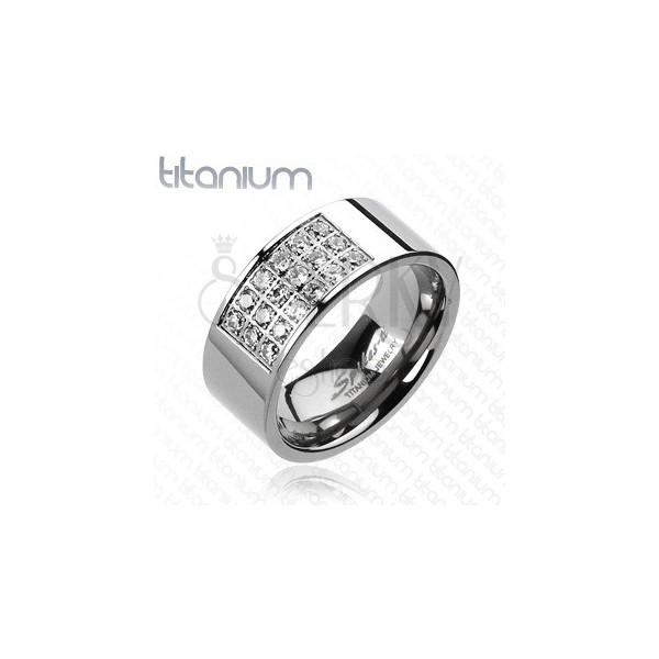 Gyűrű titániumból - téglalap alakú kivágás tiszta cirkóniákkal