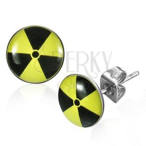 Kerek acél fülbevaló - sárga alapon fekete nukleáris szimbólum