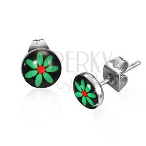 Bedugós fülbevaló - zöld virág fekete alapon