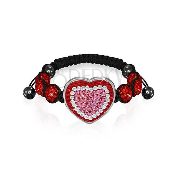 Shamballa karkötő - piros és rózsaszín cirkónia szív