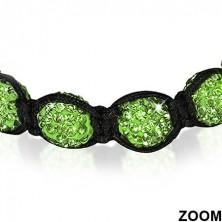Shamballa karkötő - ragyogó zöld gyöngyök, hematit golyócskák